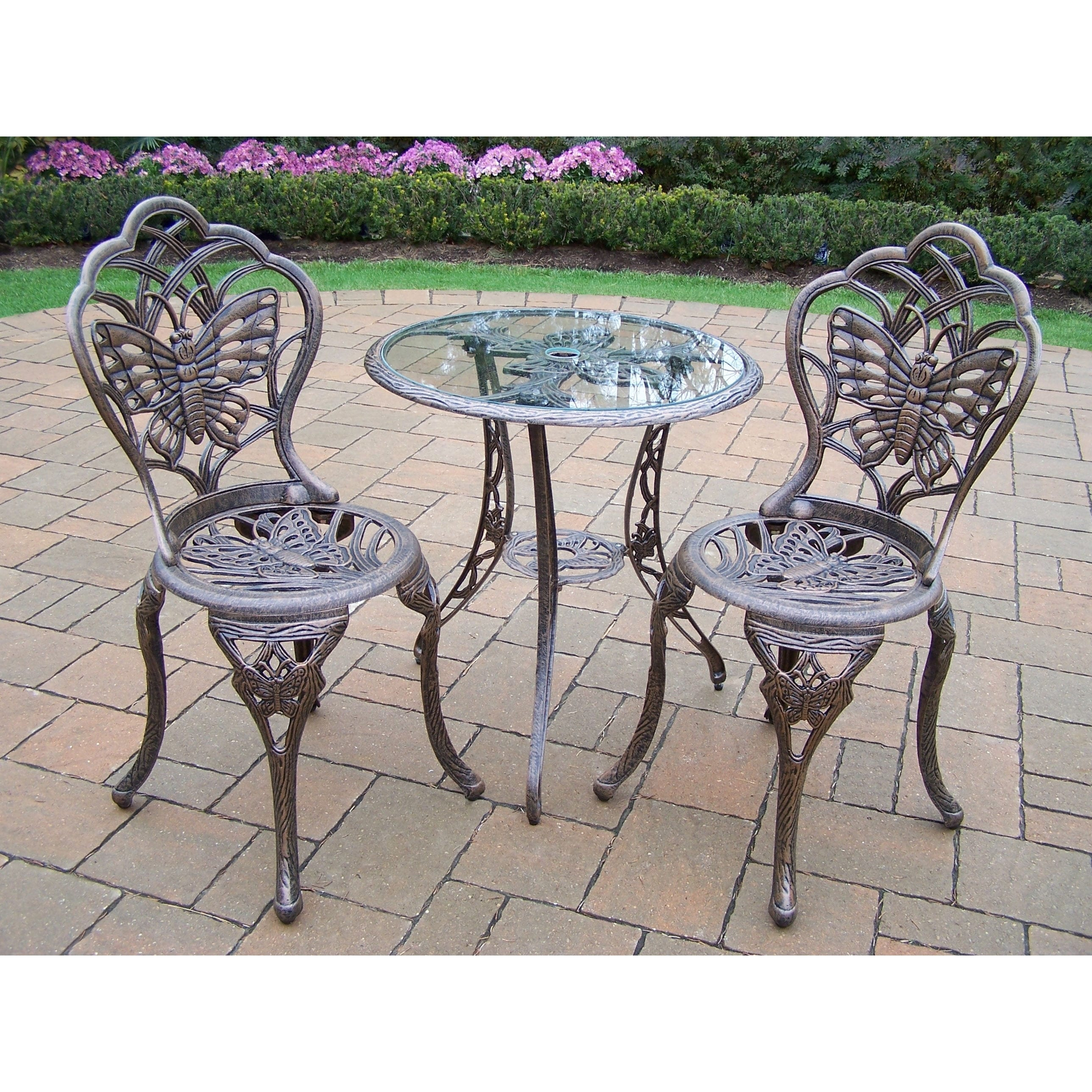 Picture of: Shop 3 Piece Monarch Bistro Set With Tempered Glass Top Table And 2 Chairs Overstock 12990931