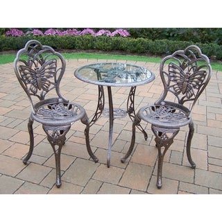 3 Piece Monarch Bistro set with tempered glass top Table and 2 Chairs