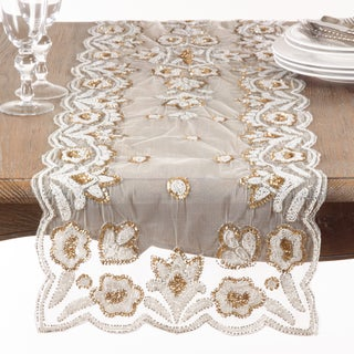 Hand-Beaded Table Runner (Option: Gold)