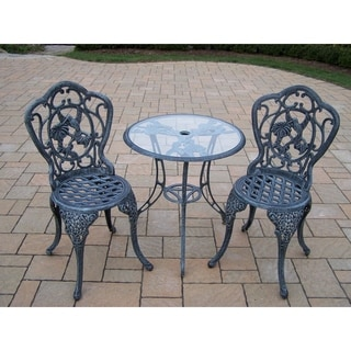 Lattice 3-piece Bistro Set with 24-inch Tempered Glass Top Table and 2 Chairs