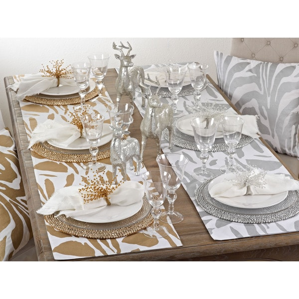 Metallic Animal Print Table Runner   Free Shipping On Orders Over $45    Overstock.com   19737285
