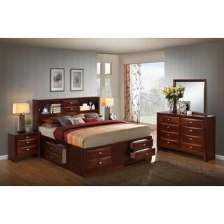 Clay Alder Home Anderson Wood Storage Merlot Bed Set with Queen Bed, Dresser, Mirror and 2 Nightstands