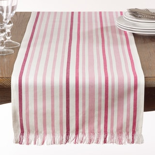 Pink Striped Table Runner With Fringe