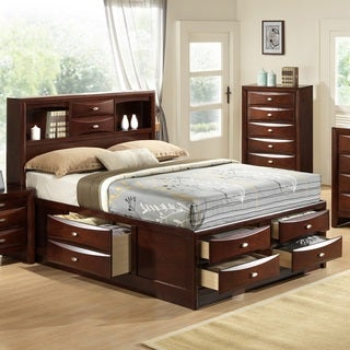 Emily 111 Wood Storage Bed Group with Queen Bed, Dresser, Mirror and Night Stand, Merlot