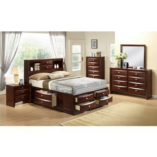 Emily 111 Wood Storage Bed Group with King Bed, Dresser, Mirror, 2 Night Stands and Chest, Merlot