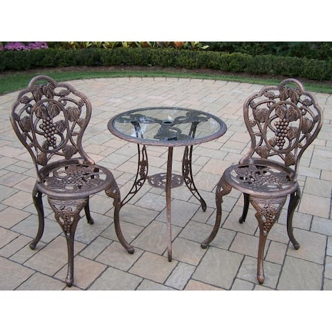 Napa Valley 3-piece Bistro Set with Tempered Glass Table and 2 Chairs