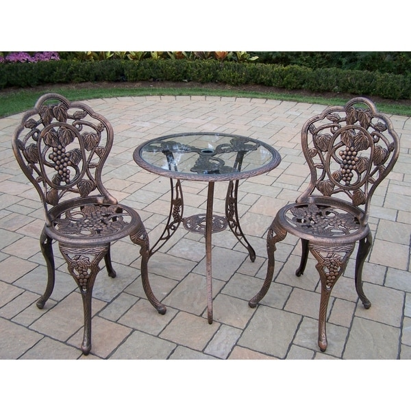 Shop Napa Valley 3 Piece Bistro Set With Tempered Glass