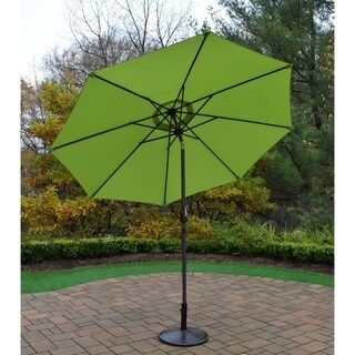 Oasis Green 9-foot Umbrella with Crank and Tilt System and Cast Iron Stand
