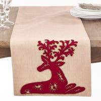 Red Embroidered Deer Table Runner