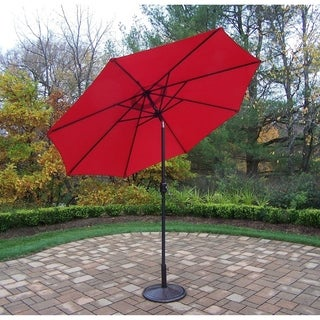 Orange Metal 9-foot Framed Umbrella with Crank and Tilt system and Cast Iron Stand