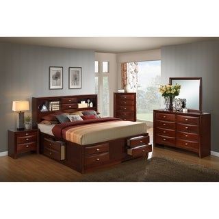 Emily 111 Wood Storage Bed Group with King Bed, Dresser, Mirror, Night Stand and Chest, Merlot