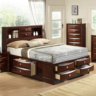 Emily 111 Wood Storage Bed Group with King Bed, Dresser, Mirror and 2 Night Stands, Merlot