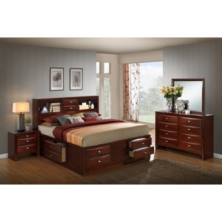 Emily 111 Wood Storage Bed Group with King Bed, Dresser, Mirror and Night Stand, Merlot