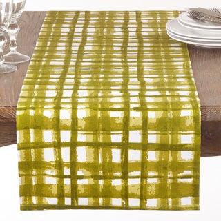 Green Basket Weave Print Table Runner