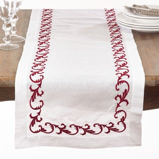 Metallic Embroidered Scroll Table Runner