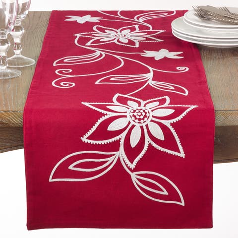 Holiday Poinsettia Table Runner