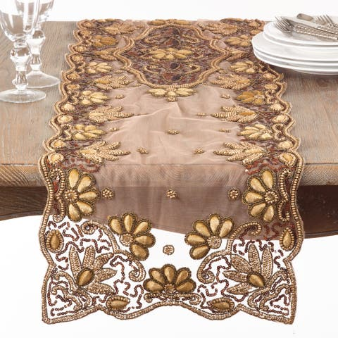 Floral Hand-Beaded Table Runner