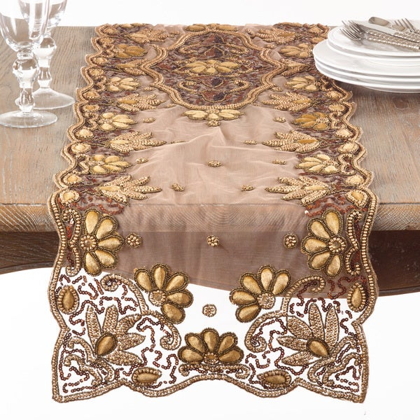 Shop Floral Hand Beaded Table Runner On Sale Free