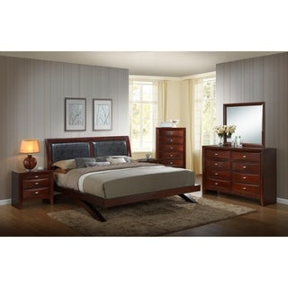 Emily 111 Wood Arch-Leg Bed Group with King Bed, Dresser, Mirror, 2 Night Stands and Chest, Merlot