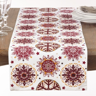 Red Snowflake Print Table Runner