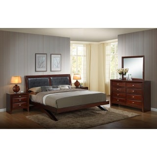 Emily 111 Wood Arch-Leg Bed Group with King Bed, Dresser, Mirror and 2 Night Stands, Merlot