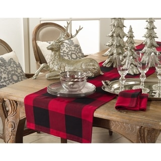 Cotton Table Runner With Buffalo Plaid Pattern