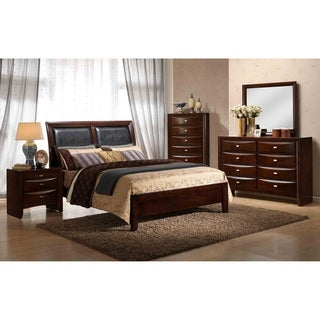 Emily Contemporary Wood Bedroom Set with Bed, Dresser, Mirror, Night Stand, Chest, Queen, Merlot