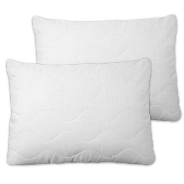 Quilted Pillow Protectors With Zipper (Set of 2)