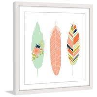 Marmont Hill - 'Feathers I' by Melanie Clarke Framed Painting Print - Multi