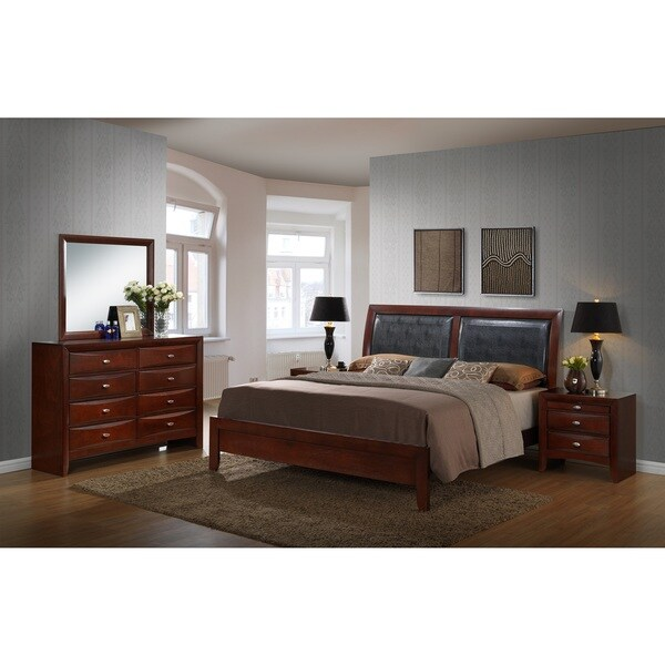 Emily Contemporary Wood Bedroom Set with Bed, Dresser, Mirror, 2 ...