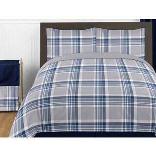 Sweet Jojo Designs Navy Blue and Gray Plaid Twin 4-piece Comforter Set