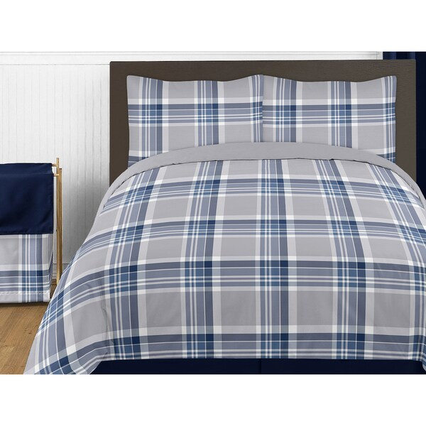 Sweet Jojo Designs Navy Blue and Gray Plaid Twin 4-piece Comforter Set