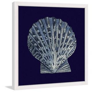 Marmont Hill - 'Indigo Shell VIII' Framed Painting Print