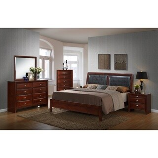 Emily Contemporary Wood Bedroom Set with Bed, Dresser, Mirror, 2 Night Stands, Chest, King, Merlot