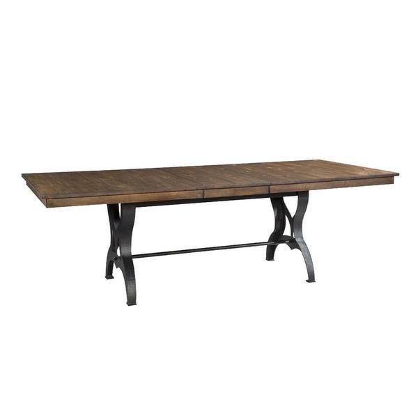 The district industrial copper finish cast metal dining for Dining room tables home goods