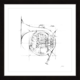 Marmont Hill - 'French Horn Sketch' Framed Painting Print - Multi