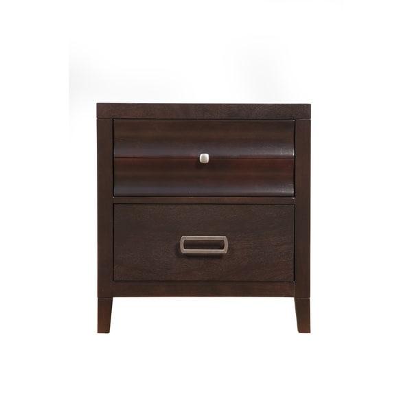 Alpine Legacy Black Veneer/Wood Two-drawer Nightstand