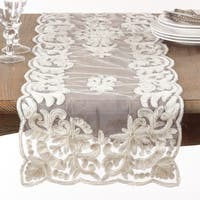 Ivory Beaded and Embroidered Table Runner