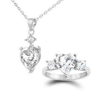 Sterling Silver Swarovski Elements Heart Necklace and Ring Set