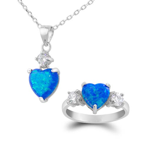 Sterling Silver Swarovski Elements Created Blue Opal Heart Necklace and Ring Set