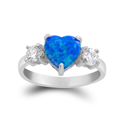 Sterling Silver Austrian Crystal and Created Blue Opal Heart Ring