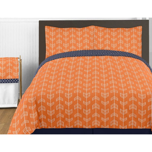 Sweet Jojo Designs Orange and Navy Blue Arrow 4-piece Twin Comforter Set