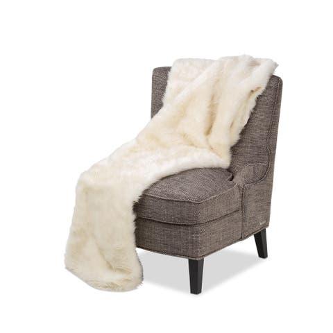 Brighton Creme Faux Fur Throw
