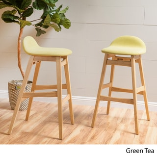 Christopher Knight Home Moria Green Fabric Bar Stool (Set of 2)