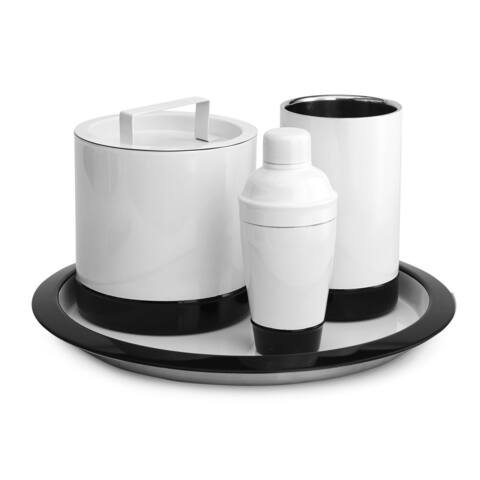 Paradigim Trends Black and White Stainless Steel Swoop Cocktail Shaker