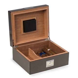 Bey Berk Carbon Fiber Design Wood 50-cigar Humidor