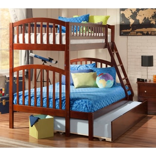 Richland Walnut Wood Twin-over-full with Urban Trundle Bed Bunk Bed