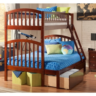 Atlantic Richland Walnut Rubberwood Twin-over-full Bunk Bed With Urban Drawers