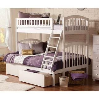 Atlantic Richland White Wood Twin over Full Bunk Bed with Urban Bed Drawers