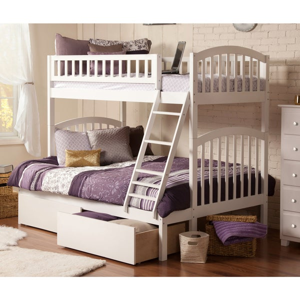 shop atlantic richland white wood twin over full bunk bed with 2 urban bed drawers free. Black Bedroom Furniture Sets. Home Design Ideas